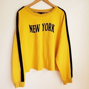 "Forever 21+ | Mustard ""New York"" Crop Sweater"
